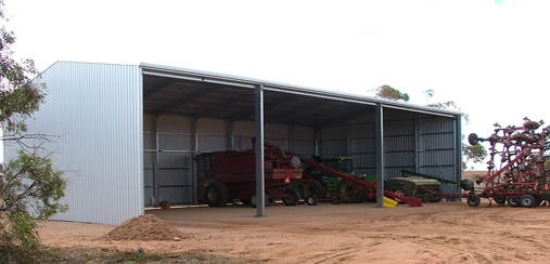 Machinery sheds protect your assets grant shed for Open front shed